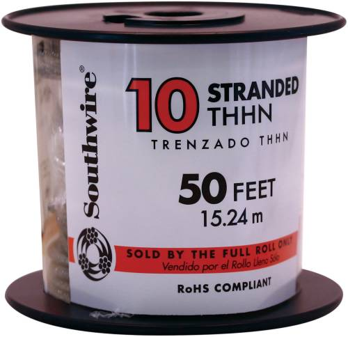 SOUTHWIRE SIMPULL THHN�, 10 GAUGE THHN STRANDED WIRE, BLACK, 50 FT. PER ROLL