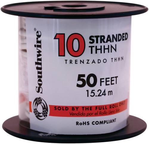 SOUTHWIRE SIMPULL THHN�, 10 GAUGE THHN STRANDED WIRE, WHITE, 50 FT. PER ROLL