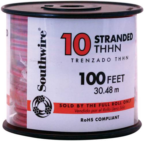 SOUTHWIRE SIMPULL THHN�, 10 GAUGE THHN STRANDED WIRE, RED, 100 FT. PER ROLL