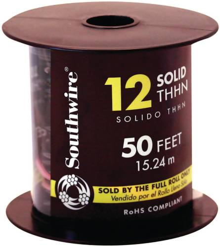 SOUTHWIRE SIMPULL THHN�, 12 GAUGE THHN SOLID WIRE, BLACK, 50' PER ROLL