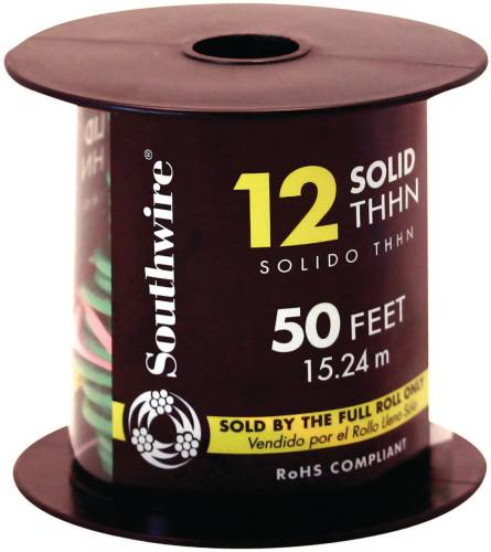 SOUTHWIRE SIMPULL THHN�, 12 GAUGE THHN SOLID WIRE, GREEN, 50' PER ROLL