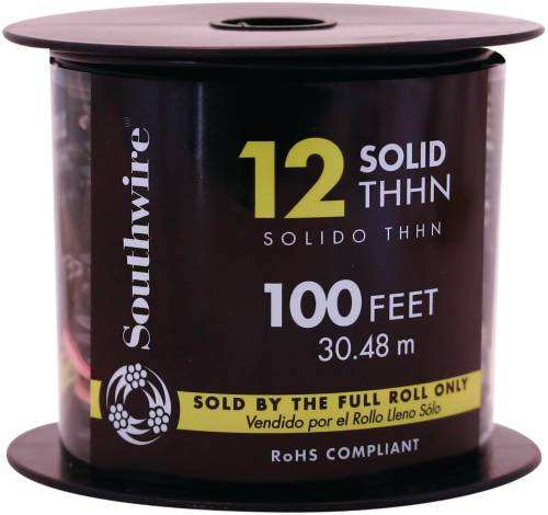 SOUTHWIRE SIMPULL THHN�, 12 GAUGE THHN SOLID WIRE, BLACK, 100 FT. PER ROLL