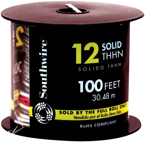 SOUTHWIRE SIMPULL THHN�, 12 GAUGE THHN SOLID WIRE, WHITE, 100 FT. PER ROLL