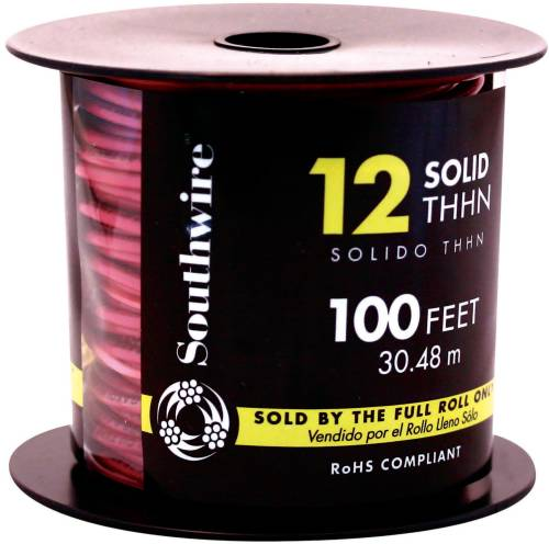 SOUTHWIRE SIMPULL THHN�, 12 GAUGE THHN SOLID WIRE, RED, 100 FT. PER ROLL