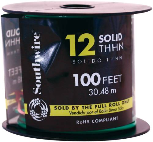 SOUTHWIRE SIMPULL THHN�, 12 GAUGE THHN SOLID WIRE, GREEN, 100 FT. PER ROLL