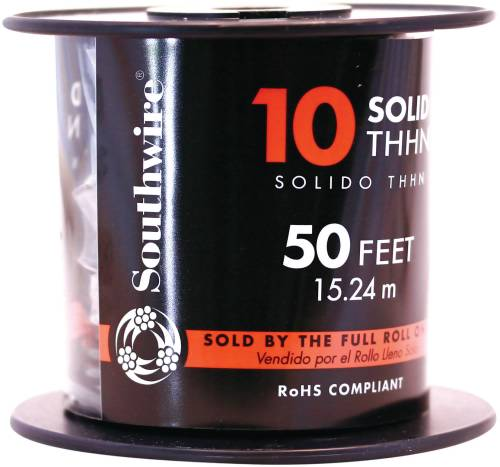 SOUTHWIRE SIMPULL THHN�, 10 GAUGE THHN SOLID WIRE, BLACK, 50 FT. PER ROLL