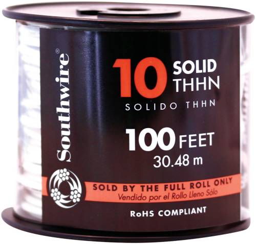 SOUTHWIRE SIMPULL THHN�, 10 GAUGE THHN SOLID WIRE, WHITE, 100 FT. PER ROLL