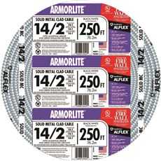 ARMORLITE� TYPE MC ALUMINUM ARMORED CABLE, 14/2, 600 VOLTS, 250 FT. COIL