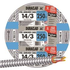 DURACLAD� TYPE AC LIGHTWEIGHT STEEL ARMORED CABLE, 14/3, 600 VOLTS, 250 FT. COIL