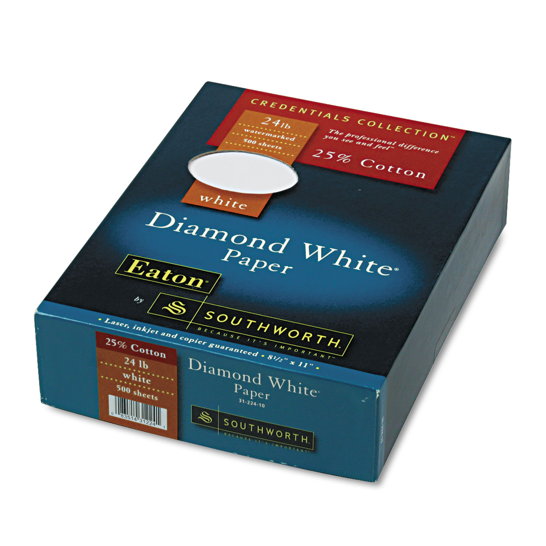 25% Cotton Diamond White Business Paper, 24lb, 95 Bright, 8 1/2 x 11, 500 Sheets