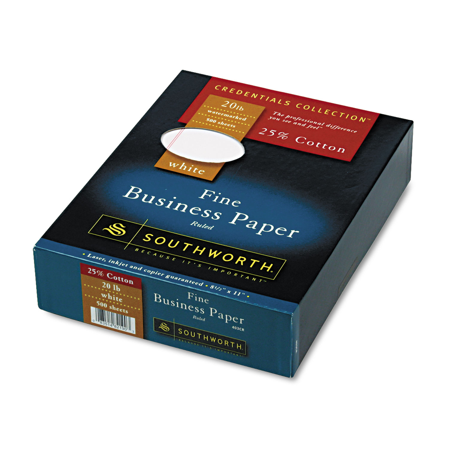 25% Cotton Business Paper, 20lb, 95 Bright, Wide Rule, 8 1/2 x 11, 500 Sheets