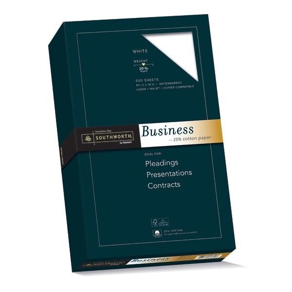 25% Cotton Business Paper, 20lb, 95 Bright, 8 1/2 x 14, 500 Sheets
