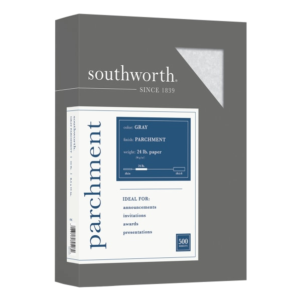 Parchment Specialty Paper, Gray, 24lb, 8 1/2 x 11, 500 Sheets