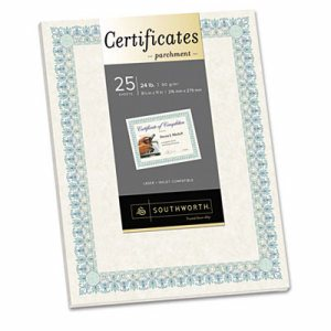 Parchment Certificates, Ivory w/Green & Blue Border, 8 1/2 x 11, 25/Pack