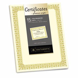 Premium Certificates, Ivory , Fleur Gold Foil Border, 66 lb, 8.5 x 11, 15/Pack
