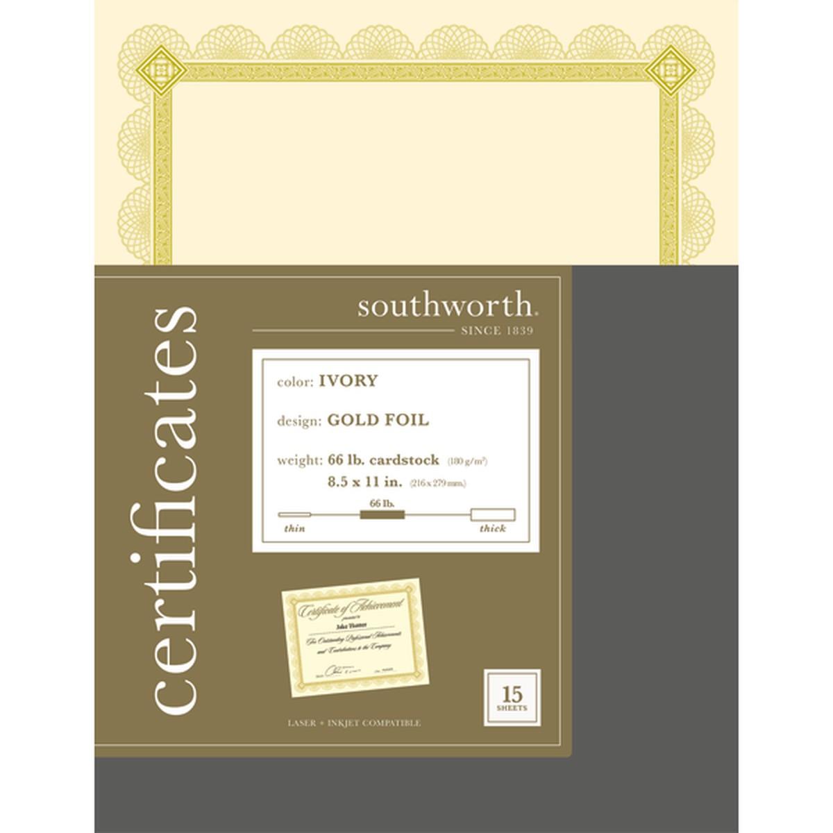 Premium Certificates, Ivory, Spiro Gold Foil Border, 66 lb,  8.5 x 11, 15/Pack