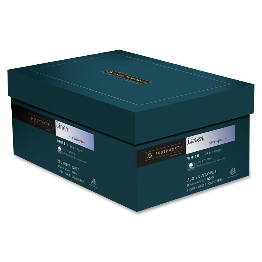 25% Cotton #10 Envelope, 4 1/8 x 9 1/2, White, 24lb, Linen, 250/Box