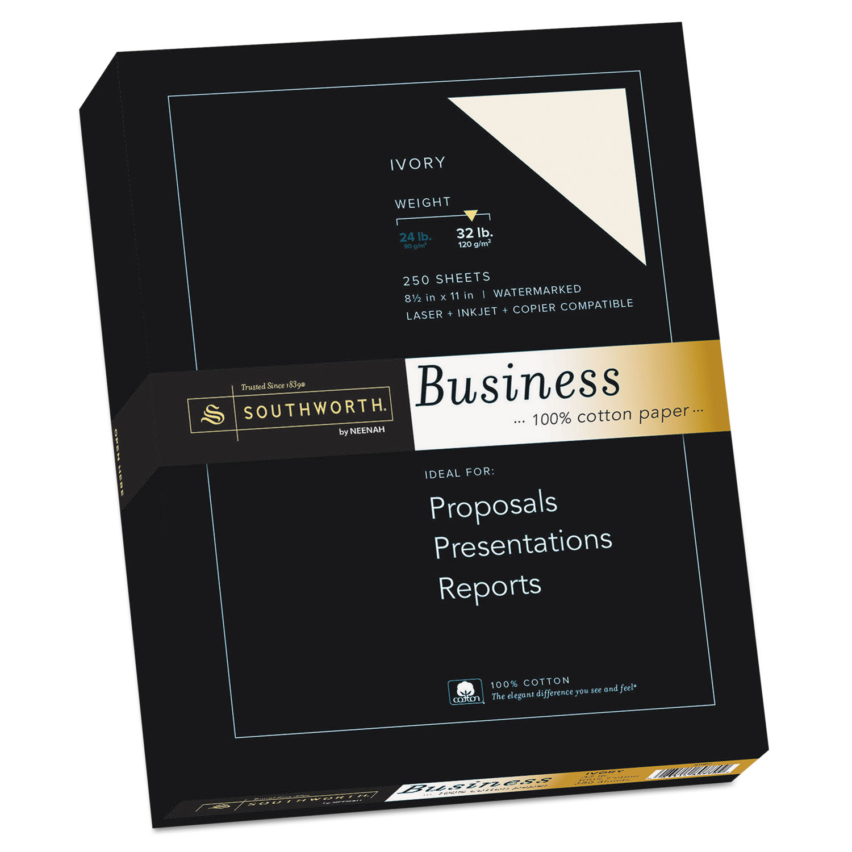 100% Cotton Business Paper, Ivory, 32lb, 8 1/2 x 11, 250 Sheets