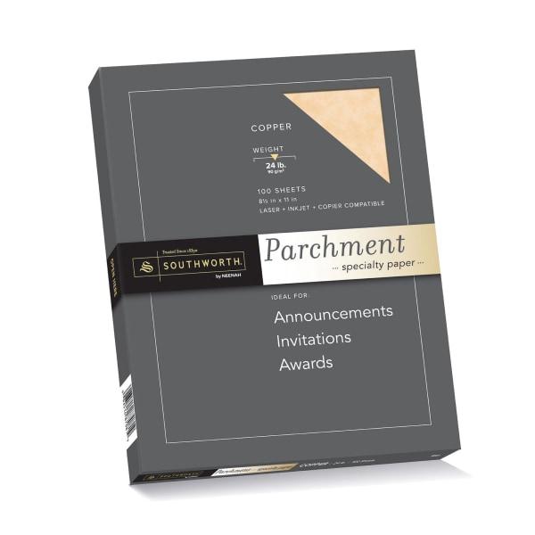 Parchment Specialty Paper, Copper, 24lb, 8 1/2 x 11, 100 Sheets