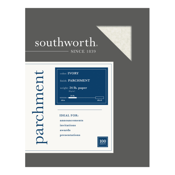 Parchment Specialty Paper, Ivory, 24lb, 8 1/2 x 11, 100 Sheets