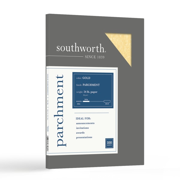 Parchment Specialty Paper, Gold, 24lb, 8 1/2 x 11, 100 Sheets