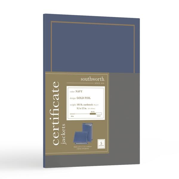Certificate Jacket, Navy/Gold Border, Felt, 88lb Stock, 12 x 9 1/2, 5/Pack