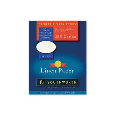 25% Cotton Linen Business Paper, 32lb, 8 1/2 x 11, Ivory, 250 Sheets