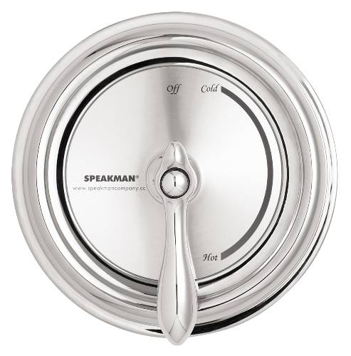 SPEAKMAN ANTI-SCALD BALANCED PRESSURE VALVE WITH CHROME PLATED  BRASS WALL PLATE AND BRASS LEVER HANDLE