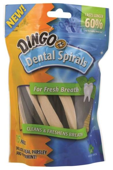 United Pet DN-99108PDQ Dingo Dog Dental Treats, Spirals