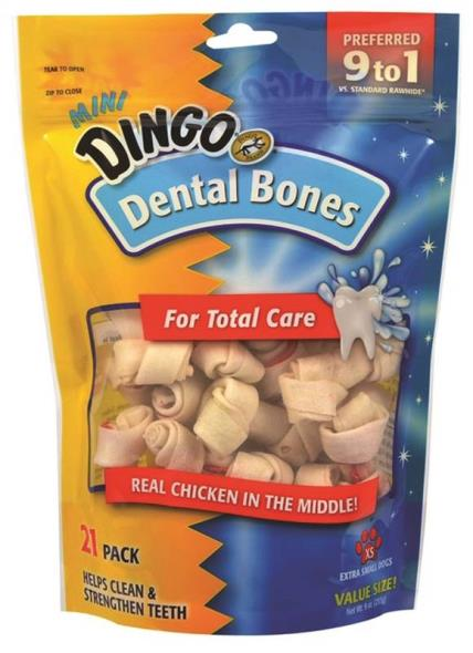 United Pet P-26016 Dingo Dog Dental Treats, Mini Bones - For Dogs, 9 Oz