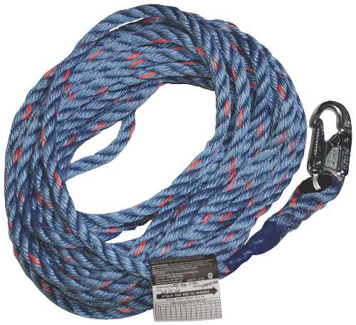 MILLER� 50 FT. SYNTHETIC LIFELINE ROPE:  5/8 IN. DIAMETER, POLYESTER/POLYPROPYLENE ROPE WITH SNAP HOOK AND LOOP