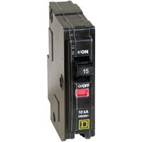 Square D QO115CP Type QO Standard Circuit Breaker, 120/240 VAC, 48 VDC, 15 A, 1 P, 10 kA