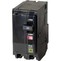 Square D QO240C Miniature Standard Circuit Breaker, 120/240 VAC, 40 A, 2 P, 10 kA