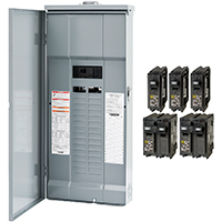 Square D HOM3060M200PRBVP Convertible Mains (Breaker) Value Pack Load Center, 120/240 VAC, 200 A, 1 Phases, Top
