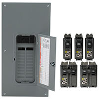 Square D HOM2040M200PCVP Convertible Mains(Breaker) Value Pack Load Center, 120/240 VAC, 200 A, 1 Phases, 20 Spaces