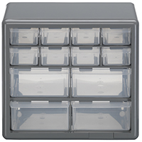 STORAGE CABINET 12 DRAWER SILVER GRAY