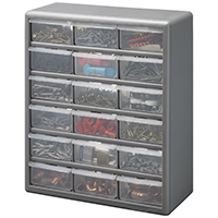STORAGE CABINET 18 DRAWER SILVER GRAY