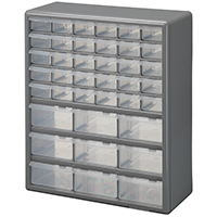 Stack-On DS-39 Storage Cabinet, 14-7/8 in W x 6-3/8 in D x 18-1/2 in H, Gray