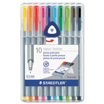 triplus Fineliner Marker, Super Fine, Water-Based, 10 Color Set