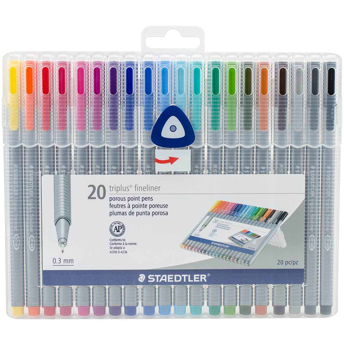 triplus Fineliner Marker, Super Fine, Water-Based, 20 Color Set