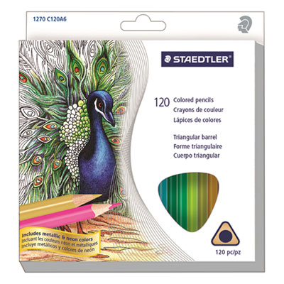 Triangular Colored Pencil Set, Soft, Assorted Lead, 120/Set