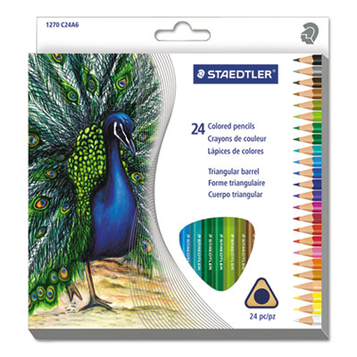 Triangular Colored Pencil Set, H/#3, 2.9mm, 24 Assorted Colors