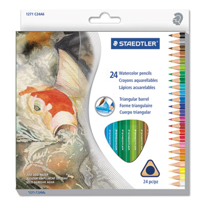 Triangular Watercolor Pencil Set, H/#3, 2.9mm, 24 Assorted Colors