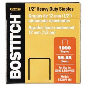 "Heavy-Duty Premium Staples, 1/2"" Leg Length, 1000/Box"