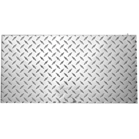 Stanley 316364 Diamond Plate Sheet, 0.1 ga T, 12 in L x 24 in W, Polished Aluminum