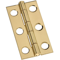 Stanley 803090 Decorative Narrow Cabinet Hinge, 6 Hole, 1-3/4 in L, Solid Brass