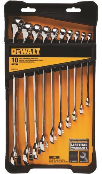 DeWalt DWMT72167 Combination Wrench Set, 10 Pieces, Chrome Vanadium Steel