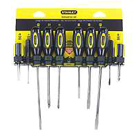 Stanley 60-100 Fluted Standard Screwdriver Set, 10 Pieces