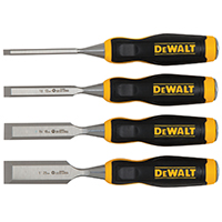 DeWalt DWHT16063 Wood Chisel Set, 4 Pieces, 1 in W Tip, 5-1/4 in L Handle