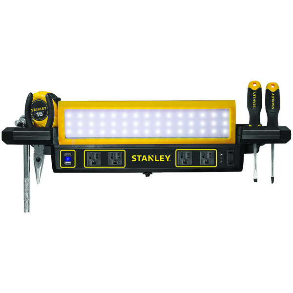 STANLEY PSL1000S 1,000-Lumen Workbench Shop Light with Power Strip